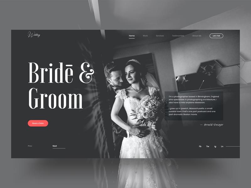 Wedding Website UI/UX Concept groom bride user experience user interface photography wedding graphic flat website web design minimal web identity ux ui design