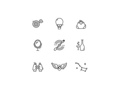 Icons icon outline gear balloon bag mirror propeller bottle binocular wing constellation