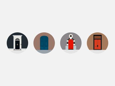City doors vector icon door city