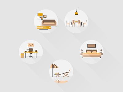 Home Icons badge set design interior home icon vector
