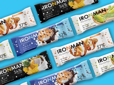 Protein bars for the IRONMAN package illustration identity graphic design design branding