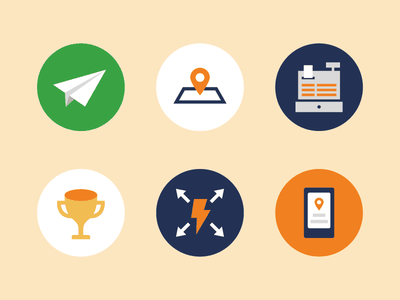 Misc. Icons icons illustration paper plane location check in cash register trophy mobile