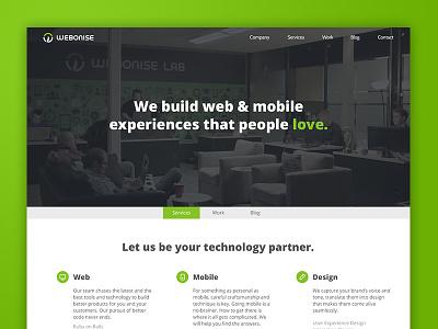 The new Webonise website webonise lab beta website home landing web ui ux design development