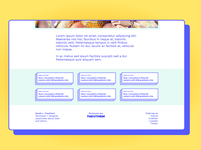Similar posts blog design blog post blogger teal blue yellow stacked layers shadow box shadow card cards blog rainbow css web ui colors minimalistic design