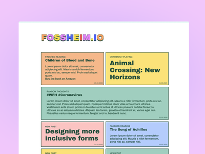 Personal blog design type blogging blog design blog css rainbow typography web personal colors minimalistic design