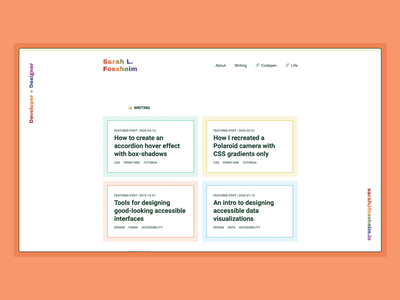 Personal blog: writing overview page queer pride gay colorful pattern css3 web portfolio ux rainbow branding personal css colors minimalistic typography design ui list blog