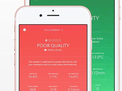 iOS weather app for asthmatics (2015/2016) designs personal minimalistic colors weather ui ux ios app design ios