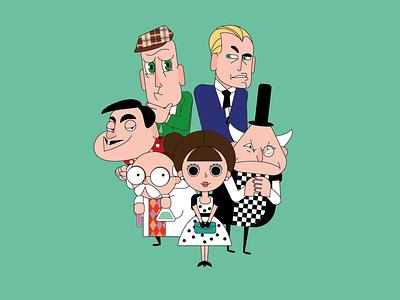 strange crew inspector agent villian professor evil madame crew vectorart avatar design character character design vector illustration