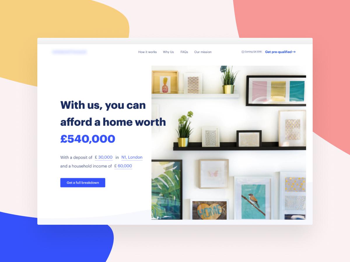 Fintech landing page mortgage home start up website landing flat user testing warm blue ui ux