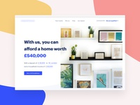 Fintech landing page mortgage home start up website landing flat user testing warm blue ui ux