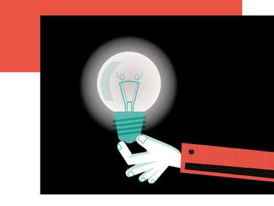 Full of ideas! eureka hand line art admind vector idea illustration lightbulb light