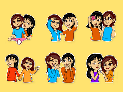 Friendship Day Stickers vector