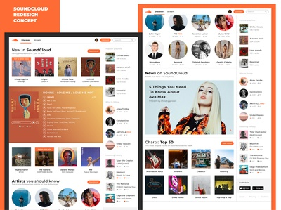 SoundCloud Website Redesign Concept - Discover (Full Home Page)