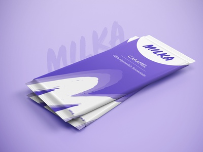 MILKA Chocolate Packaging Redesign for Dribbble Weekly Warm-Up packaging mockup packaging design milka caramel chocolate packaging chocolate chocolate bar package design packagedesign graphic design redesign logo vector adobe illustrator ui ux mockup packaging design branding