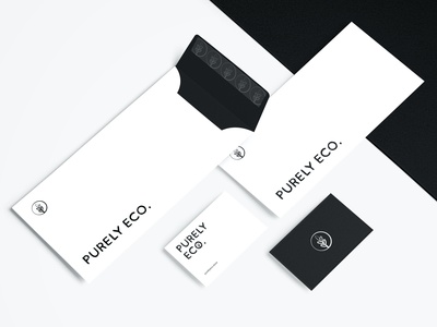 Purely Eco - Branding for an eco-friendly online store graphic ecofriendly ecologic ecological ecology corporate branding corporate identity brand design branding design sketch envelope design business card envelope logo vector graphic design mockup typography branding design
