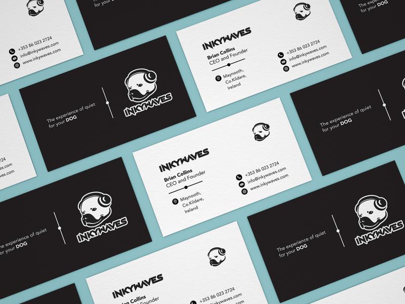 InkyWaves - Business Card Design dogdesign dogs dog logo doggy dog illustration dog business card mockup business card template business card design graphicdesigner graphicdesign businesscard sketch identity vector graphic design typography mockup branding design