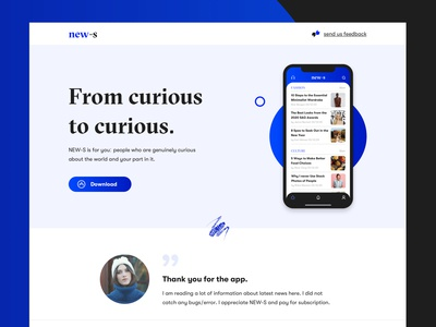 NEW-S App Landing Page Design