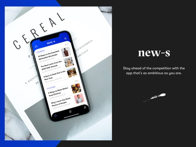 NEW-S iOS App Design (Homepage) news design news site news app news new ios application ios app design ios app app ui app design web app illustration identity typography vector logo graphic design branding design