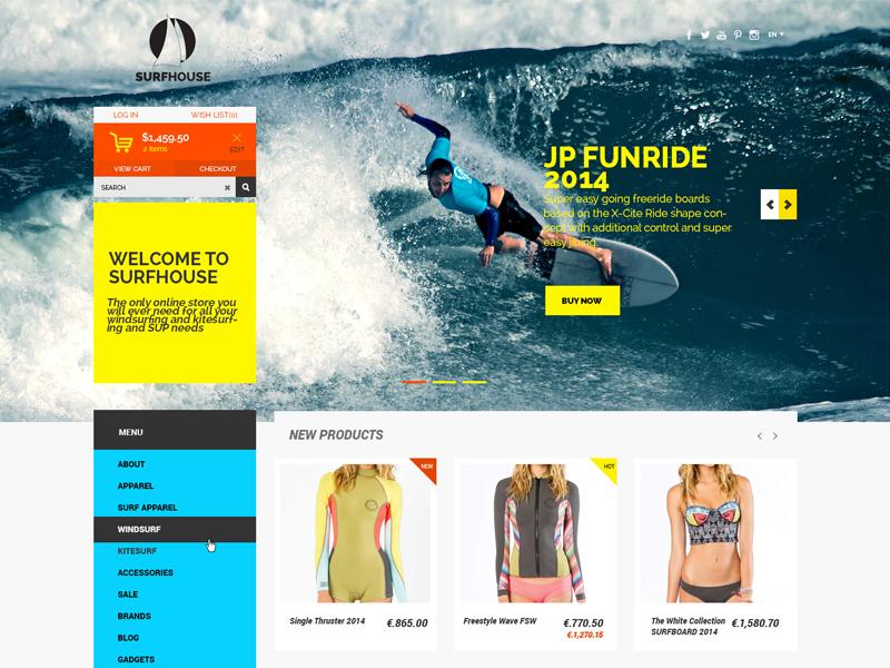 Surfhouse - Free .Psd eCommerce Template free freebies template psd website ecommerce shop