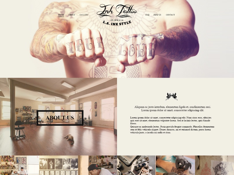 InkTattoo - Free .Psd One Page Template free freebies template psd website web design