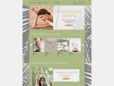 Jewelry brand website palm palmtree typography jewellery jewels jewelry colors website ui ux logo design branding