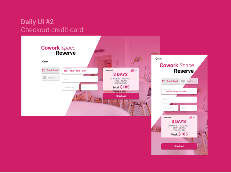 Daily UI #2  Checkout credit card - Coworking