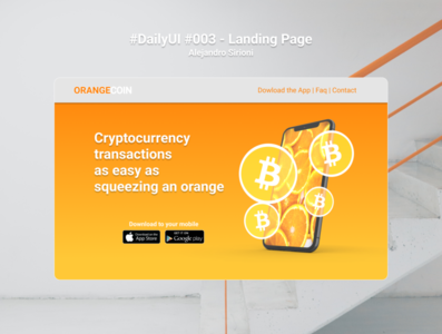 #DailyUI #003 - Landing Page - Orange Coin - Crypto