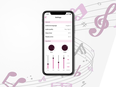 Music app settings dailyui settings settings page music player music app music ios ui ux adobe xd
