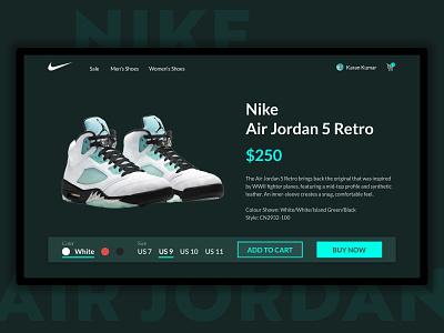 Product page design air jordan nike shop design ui challenge photoshop e commerce webpage shoes shoes website dailyui uiconcept product page ui design ui ux adobe xd