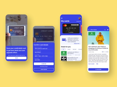 Card management and offer app smart app app design blue scanning deals offers app iphone card app credit card app ios ui design ui ux adobe xd