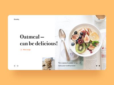 Oatmeal time! health breakfast ui minimal figma web design