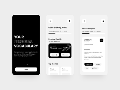 Your personal vocabulary App bnw ui simple minimal figma design