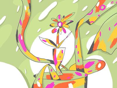Flower with spots funny spots abstract flower art design vector poster digitalart illustration
