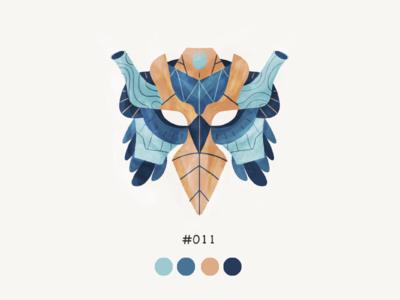 Masked Eleven color mask design illustration