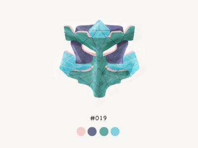 Masked Nineteeen color mask design illustration