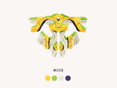 Masked twentyeight color mask design illustration