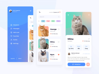 Pet Adoption App color phone mobile adoption pet animal application app design motion flat minimal clean motion graphic motion design animation