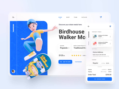 Deckshop Responsive App 3d dashboard store skateboards skateboard skate animations responsive shopping cart shop website color application app clean motion graphic motion design motion design animation