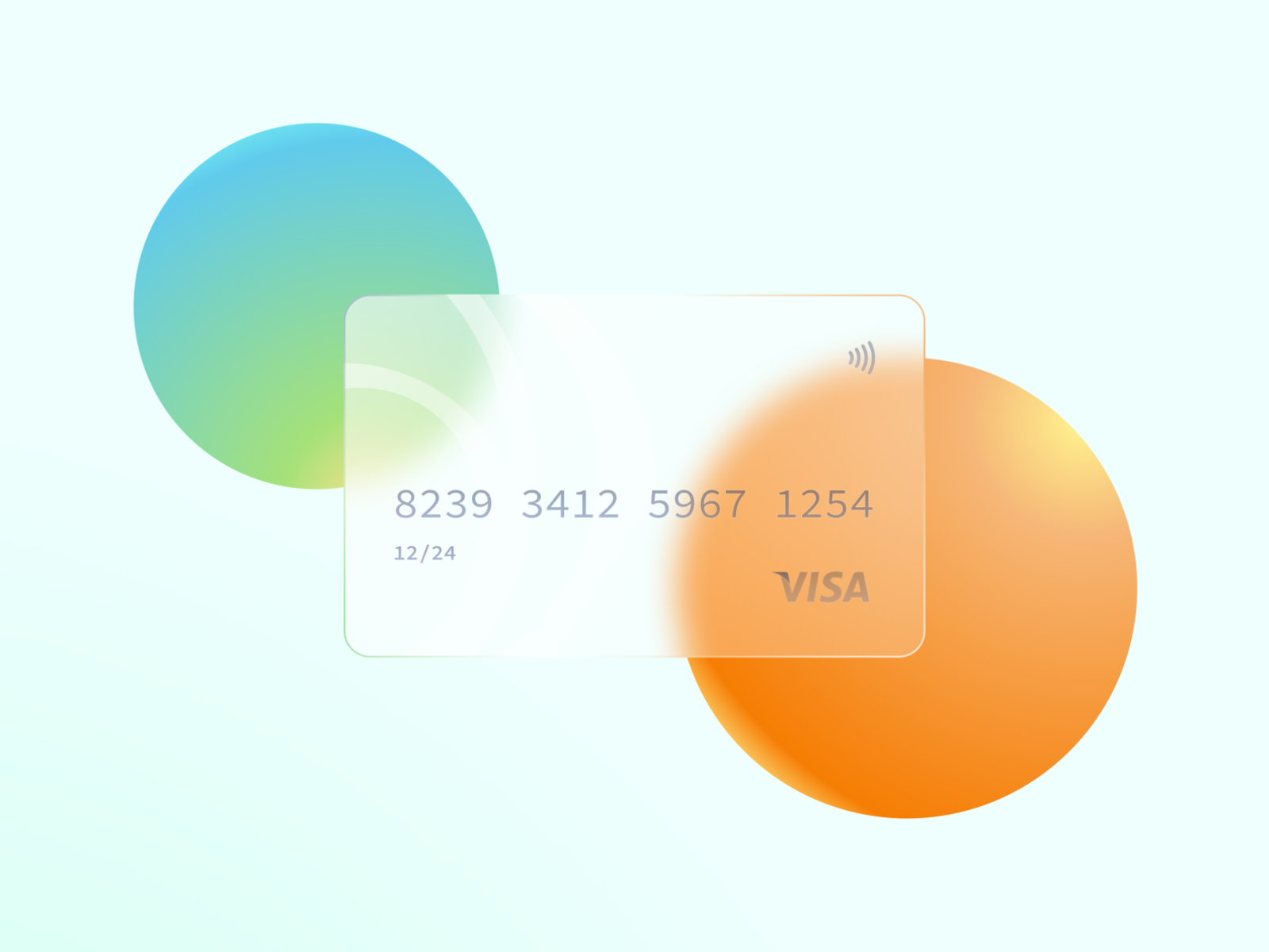 Dribbble frosted glass credit card