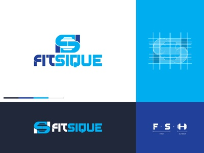 Fitsique Logo sport logotype logogram navy blue negative space dumbbell s letter f letter ambigram wellness fitness gym brand branding design logo