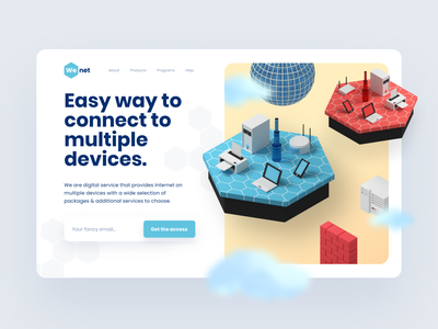 WeNet - Header 3D Illustration 3d website design uiux hero header render isometric wifi internet landing page website ux ui clean design