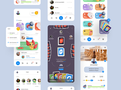 Plato - App Redesign Exploration 3d modeling 3d icon cards chess profile exploration redesign group friends chat game mobile ux ui app application minimal clean design