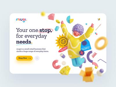 Mugi -  Web Header 3D Illustration exploration illustraion illustrator character 3d modeling render 3d playful colorful store convenience grocery cart shop header web ux ui clean design