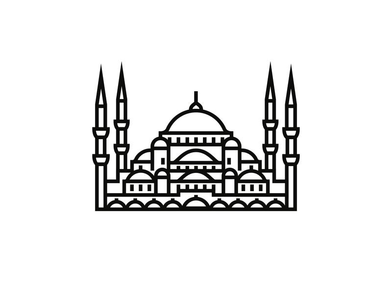 Sultan Ahmed Mosque (Blue Mosque), Istanbul logodesigner icon design architecture logo minimalist minimalism minimal illustration logodesign logo illustrator iconography icondesigner icon blackandwhite architecture