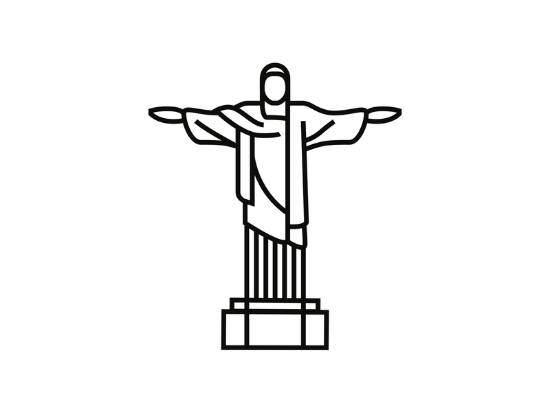 Christ the Redeemer, Rio de Janeiro minimal icon minimal design logo minimalism minimalist icon design minimal illustration logodesign iconography icondesigner icon blackandwhite architecture