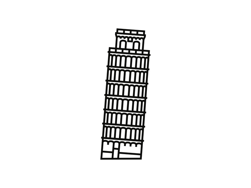 Leaning Tower of Pisa, Italy minimal icon minimalist design logodesigner logodesign logo minimalism minimalist iconography icondesigner icon blackandwhite architecture