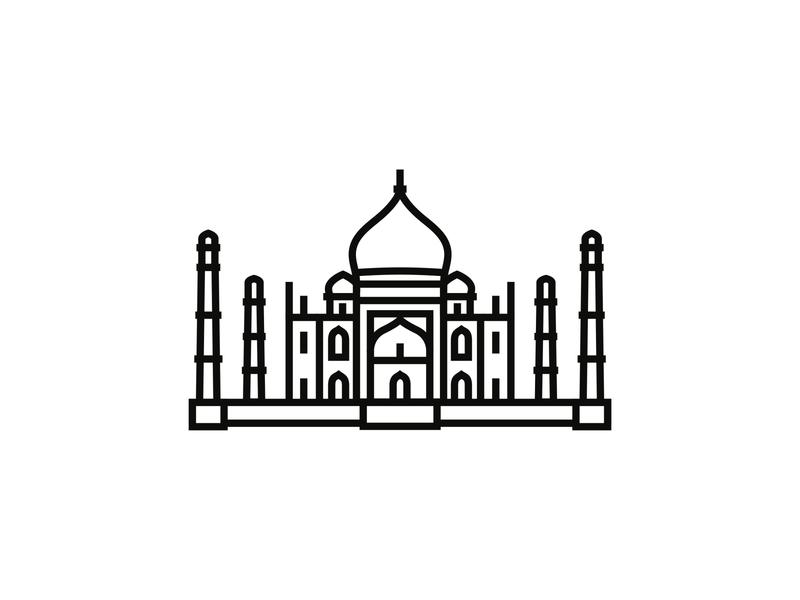 Taj Mahal, India minimalist icon design minimalism logodesign logo iconography icon icondesigner blackandwhite architecture