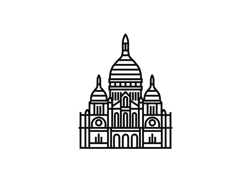 Sacré-Coeur de Montmartre, Paris logodesigner minimal illustration minimalism icon design logodesign logo iconography icon icondesigner blackandwhite architecture
