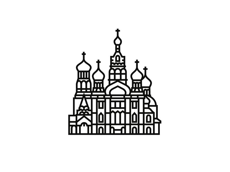 Church of the Savior on Spilled Blood, St. Petersburg icon design minimal illustration minimalism logodesign logo iconography icondesigner icon blackandwhite architecture
