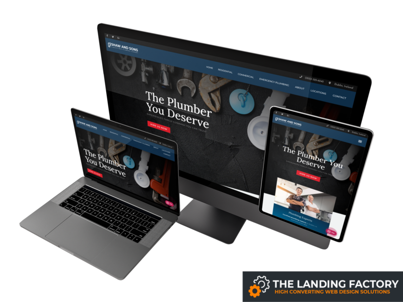 Homepage template design for plumbers / plumbing